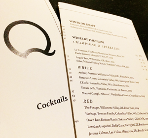 Q cocktail menu