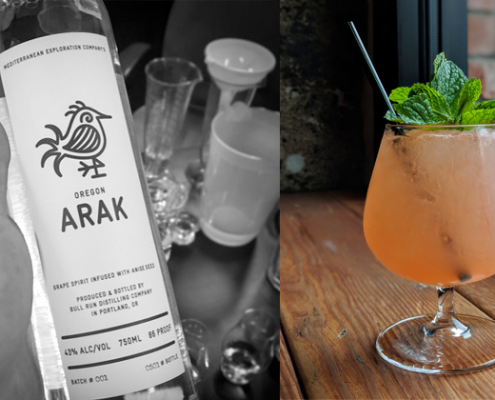 bottle of Oregon arak and arak cocktail